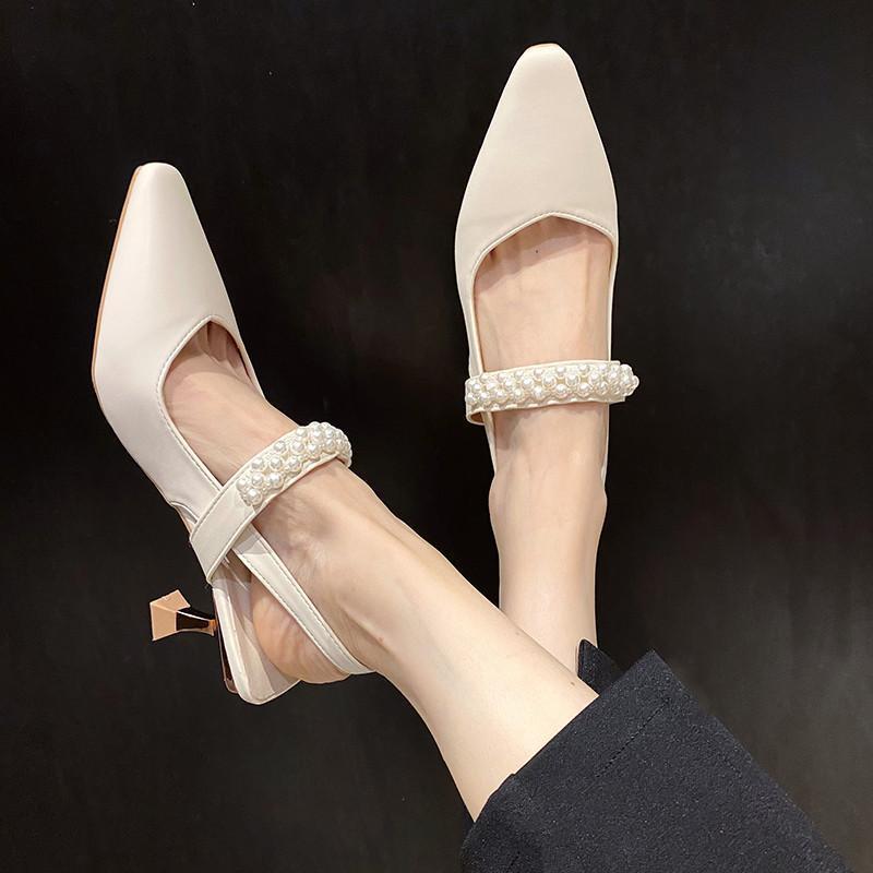 Scarpe da donna Sandali perla Bocca superficiale Bocca quadrate Tacchi alti Scarpa femminile 2021 Stiletto Donne Ragazze con tacco alto Aperto Beige Fashion COM