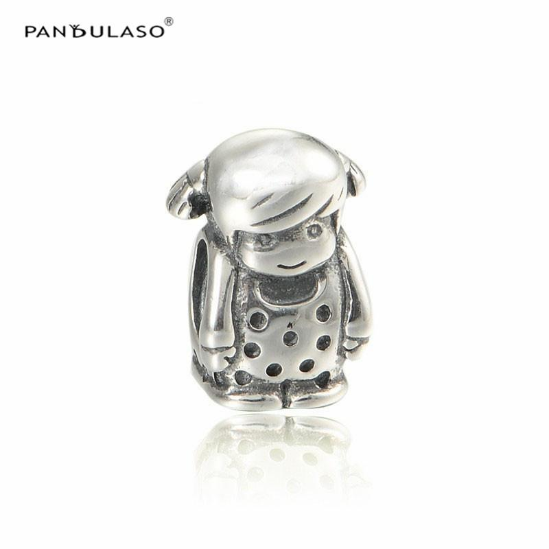 Authentic 925 Sterling Silver Girl Beads Charm DIY Jewelry for Women Fits European Style Charms Bracelet