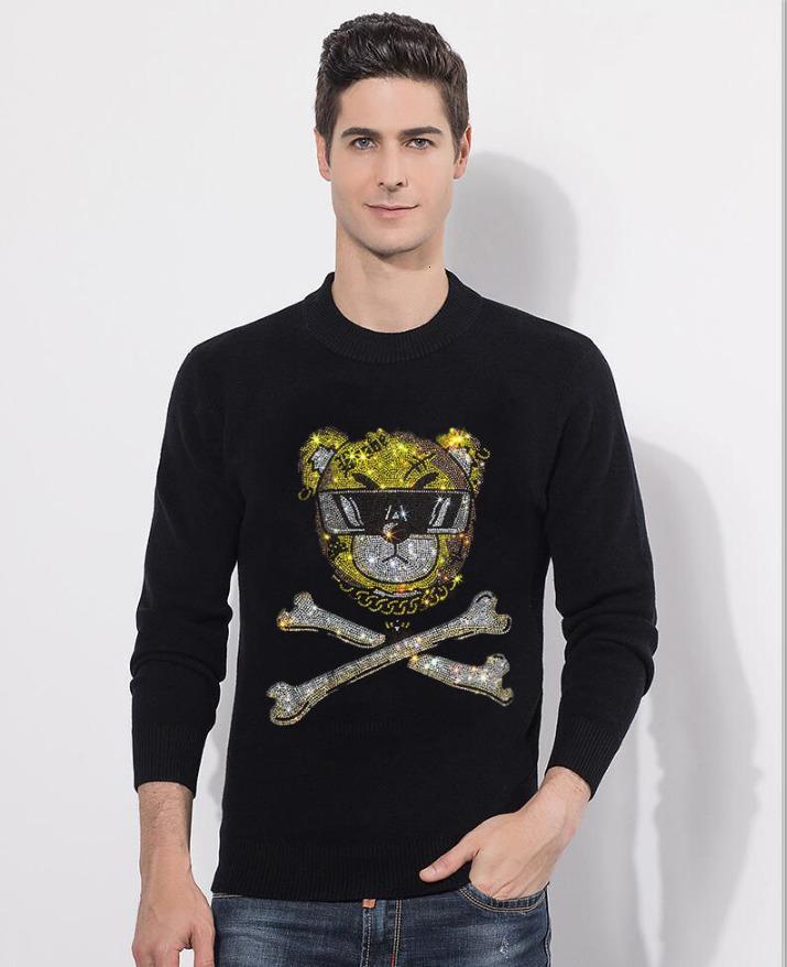 2021 Новая горячая проколочка шеи алмаз мужской свитер рок м-2xL IFPT