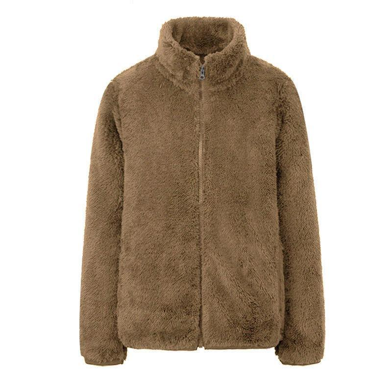 Chaquetas de mujer Fashion Polar Fleece Abrigo de invierno Abrigo de invierno Chaqueta de mujer Shaggy Cálido recortado sobre abrigo Zipper Outwear Femme Veste 4XL