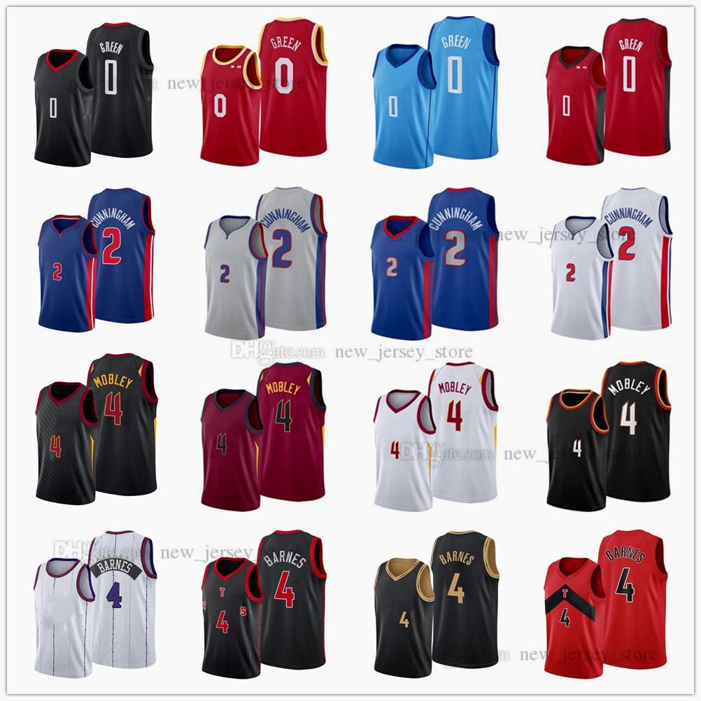 Fast Отправить 2021 Проект выбора Баскетбол 0 Джален Зеленые майки напечатаны 2 Cade Cunningham 4 Evan Mobley Scottie Barnes Jersey Blue белый серый серый красный