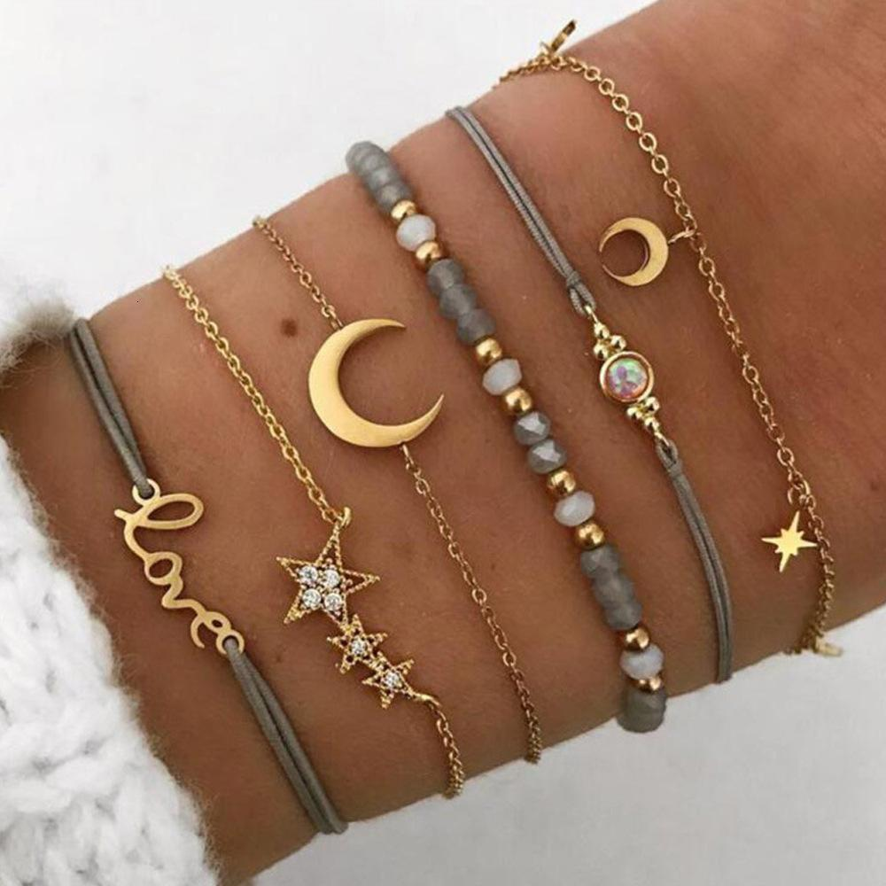 Çok yönlü pentagram ay harfi kolye dokuma boncuklu 6 parçalı kadın bilezik
