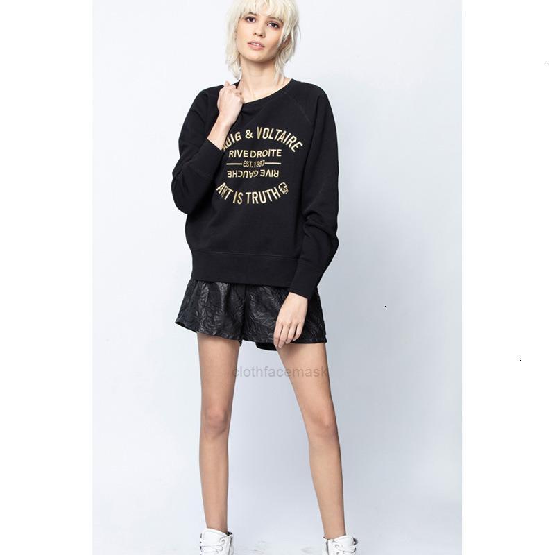 A principios de otoño 2020 nueva minoría francesa zadig letra clásica de las mujeres bordado bordado algodón suelto suéterxhj69h