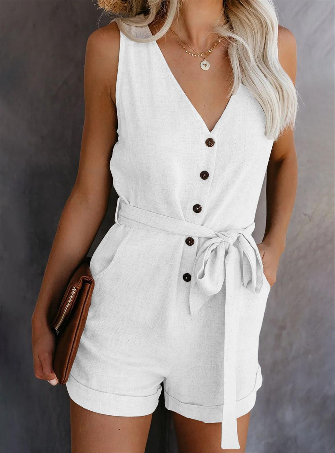 Solid Color Casual Womens Jumpsuit V Neck Bow Five Point Shorts Sleeveless Playsuit Summer Beach Rompers