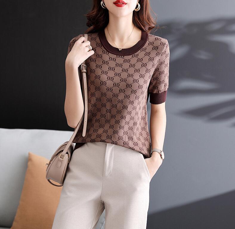 Novo Designer camisetas Casaco de mulheres T-shirt feminina para mulheres de tricô de verão camiseta camisa superior camisola de manga curta feminina cloting