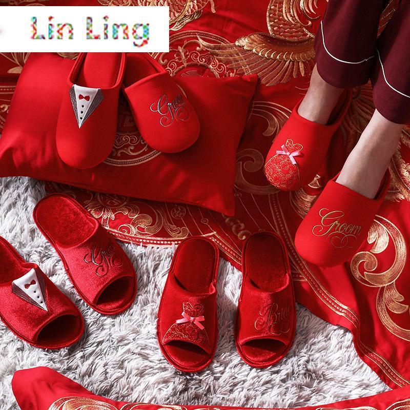 Китайский стиль свадебный дом пары тапочки Все сезоны влюбленные спальни обувь красная вышивка хлопчатобумажная спальня дамы тапочки