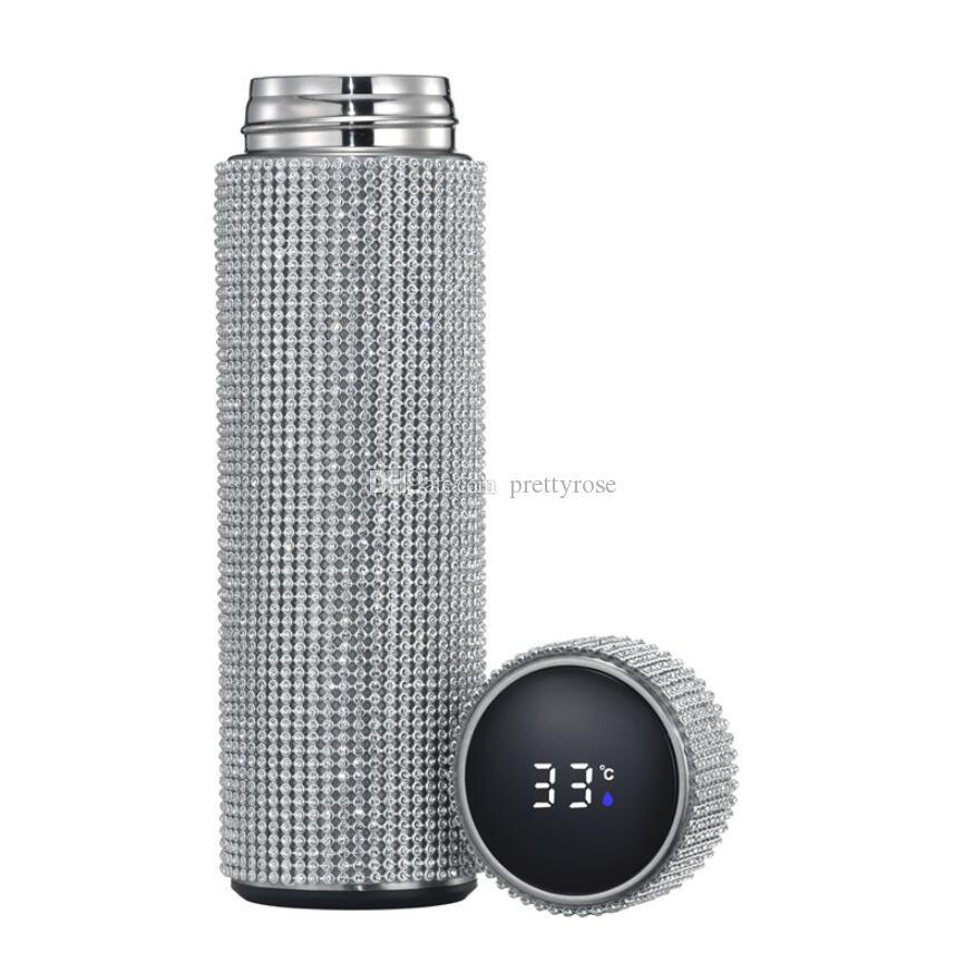 500 ml Yaratıcı Elmas Termos Şişe Su Şişesi Paslanmaz Çelik Akıllı Sıcaklık Ekran Vakum Şişesi Kupa Hediye Erkekler Kadınlar için Kutusu Ile