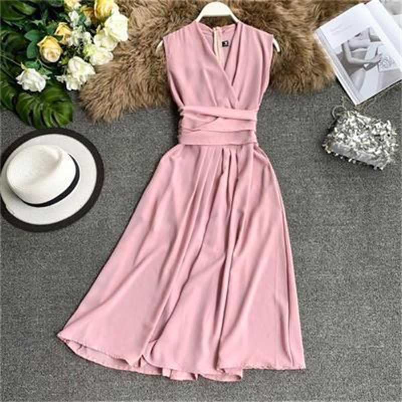 Французские феи платье сексуальное V-образным вырезом без рукавов с крестовой галстукой талией тонкий средняя длина юбка лето