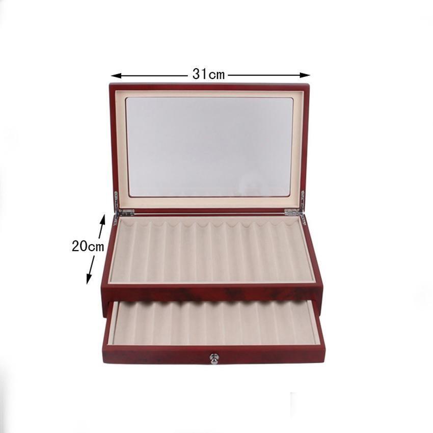 Black / Borgonha Caixa de armazenamento de exibição de madeira, 23 canetas, caixa de organizador de coletor de caneta-tinteiro com jllhrz luta2010