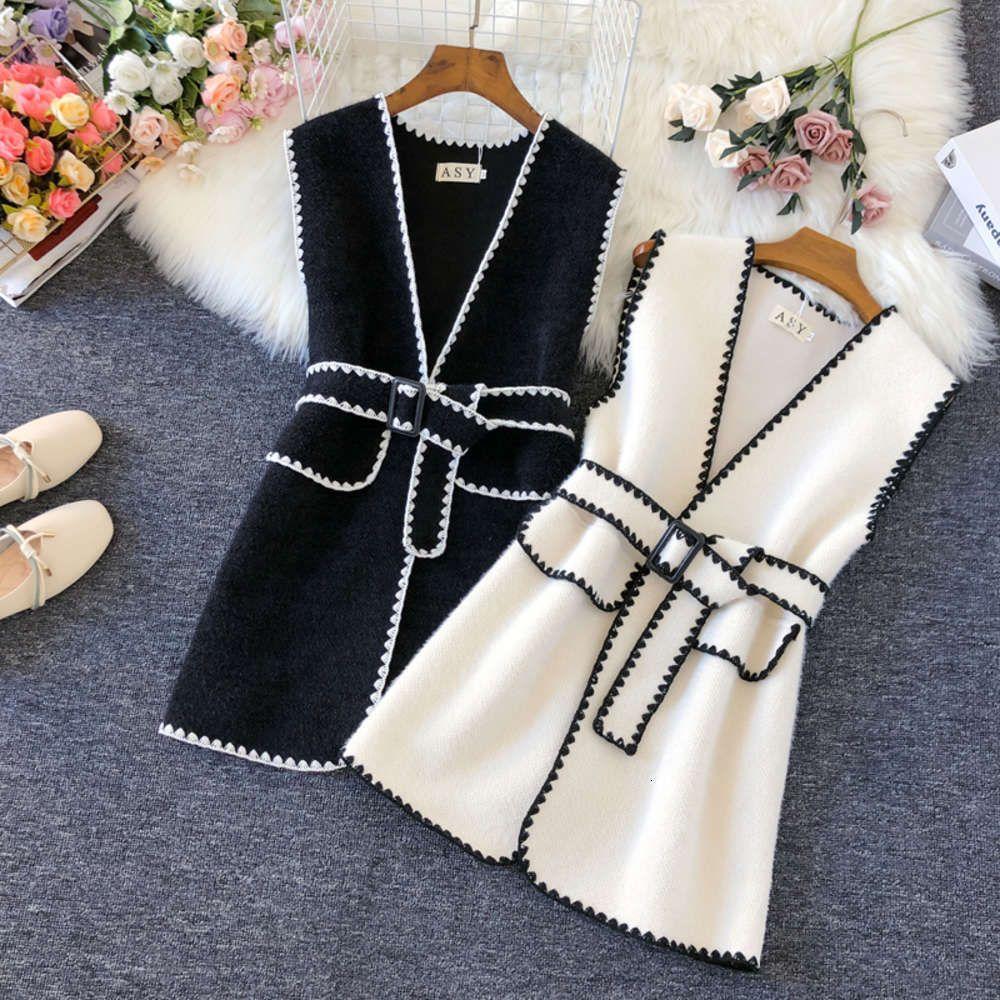 Wool Vest Women Top Sleeveless Jacket Vintage 2020 Autumn Winter Woolen Waistcoat Ladies Vests Coat Outerwear Female Black White