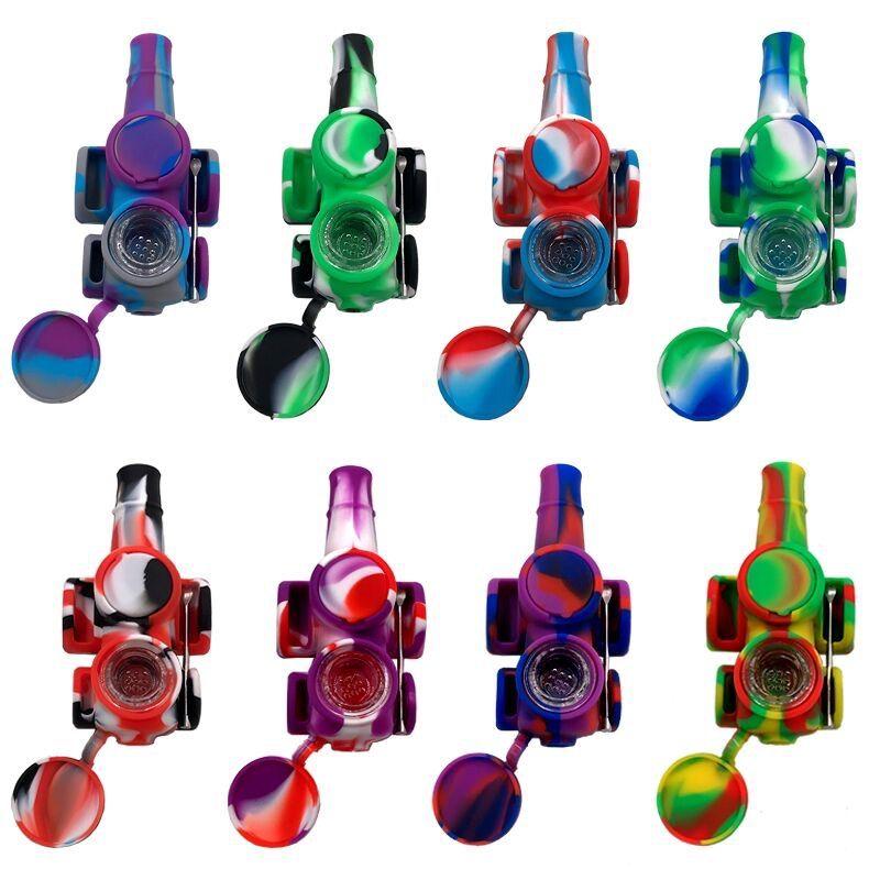 Venta al por mayor Colorido Silicone Tubos de tabaco Diseño Diseño Cera Contenedor Silicones Mano Tubería Almacenamiento Vidrio Cuenco Humo