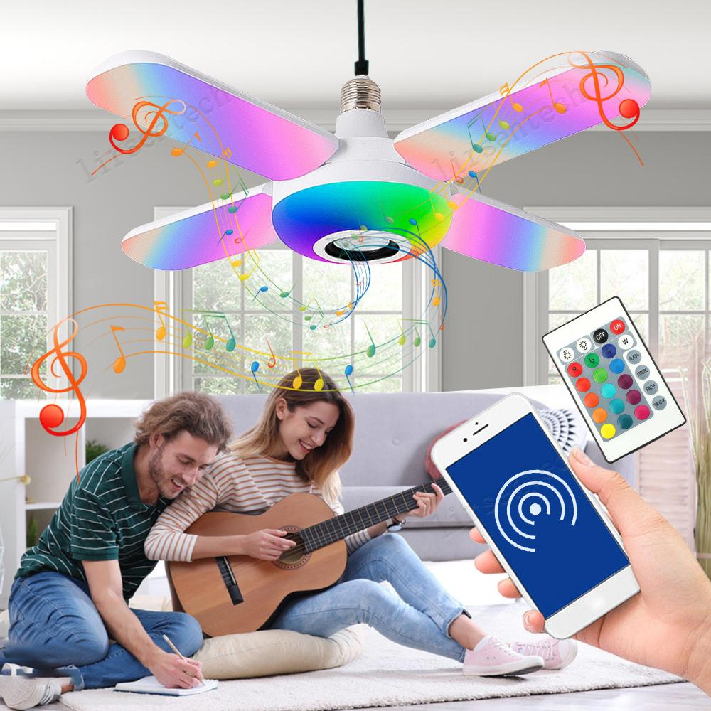Led Music Bulb Bluetooth Smart Grb Led Light Wireless Remote Control Colorful 50 w Night Lamp Foldable with retail box free drop ship