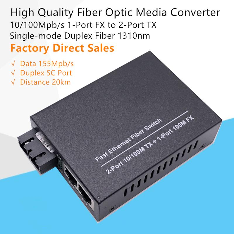GOFERTEASY 10 / 100MPB / S Fibre optique Convertisseur de média optique Mode unique Fibre de duplex 1310nm avec 1 port SC FX à 2 ports RJ45 TX TX