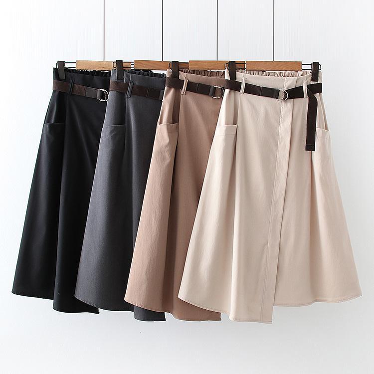 Новый 2021 высокая талия летняя A-Line нерегулярная подол модно MIDI длиной юбка с поясом женщин одежда Faldas Jupe Femme SAIA H7LA