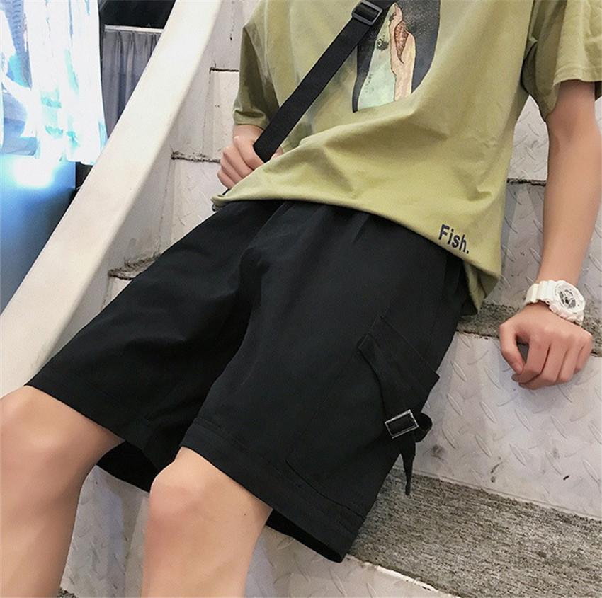 Yaz Erkek Kısa Kargo Pantolon Katı Renk Orta Bel Plaj Erkek Şort Casual Erkek Giyim