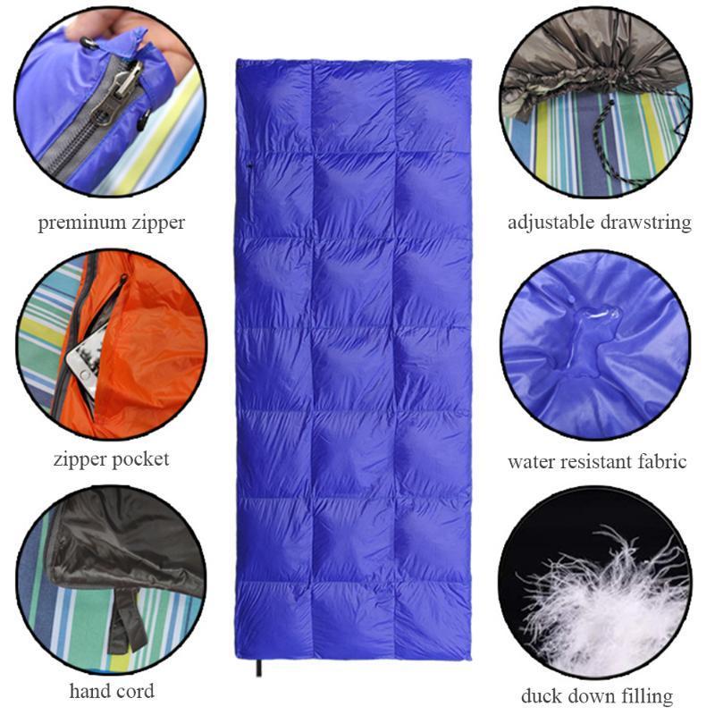 Открытый двойной утка вниз спальный мешок сверхлегкий компактный конверт спальный мешок водонепроницаемый 2 человека чехол для взрослых