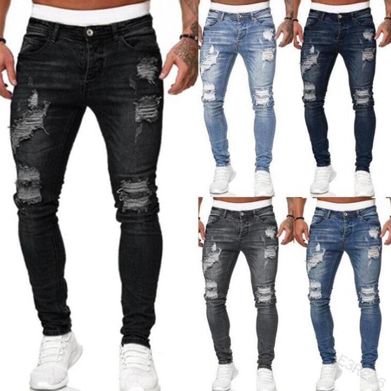 Мужские джинсы хип-хоп черный синий прохладные тощие разорванные растягивающиеся стройные эластичные джинсовые брюки Большой размер для мужского повседневного беговых джинсов для человека