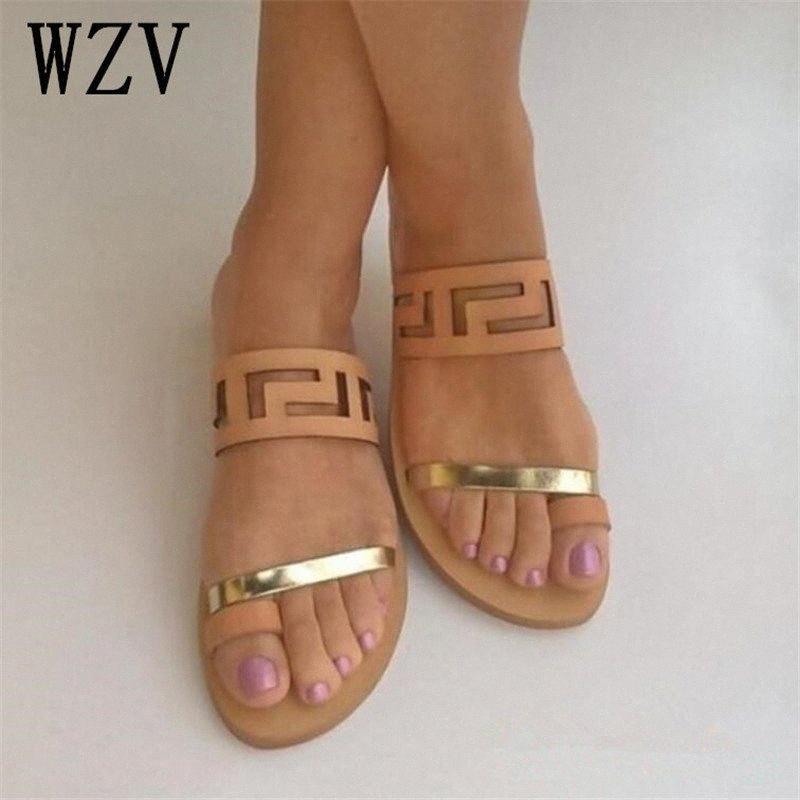NUEVO Llegada de verano Calidad Sandalias planas Mujeres 2019 Moda caliente de la moda abierta Flip Flobs Slides Slip en los zapatos de playa W682 B2FI #