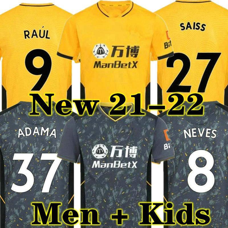 Neue 20 21 Wolverhampton Wanderers Raul Fussball Jersey 2020 2021 Home Yellow j moutinho neves podence fußball shirts fußballuniform männer + kinder kit