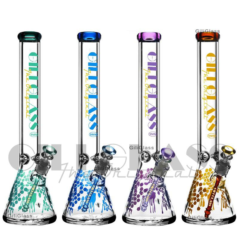 "Honeycomb 9mm thick glass beaker bong 18"" huge big bongs water pipe heavy pipe colorful dab rig Heady Wax moking Bubbler giliglass purple"
