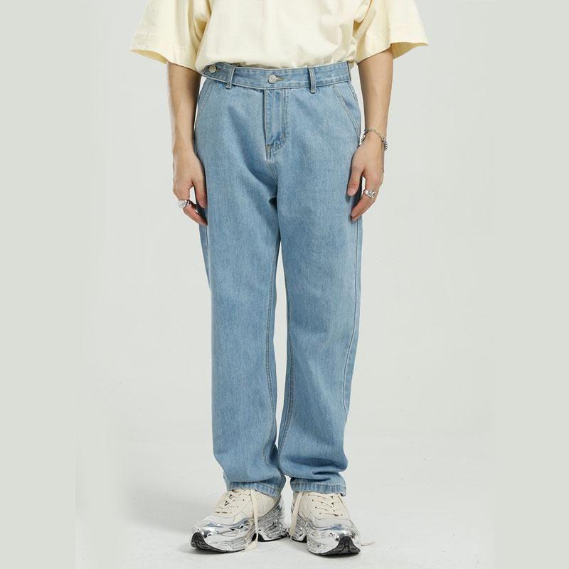 Männer Vintage lose lässig grundlegende Stil Gerade Jeans Hosen männliche Streetwear Mode Hip Hop Retro Denim Hose