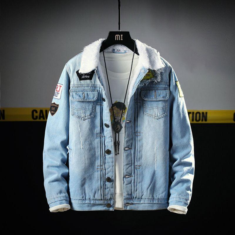 2021 Yeni Yeni Tasarımcı Moda Kış Erkekler Kalın Veet Mont Yamalar Hip Hop Sıcak Denim Ceket Chaqueta Sec7