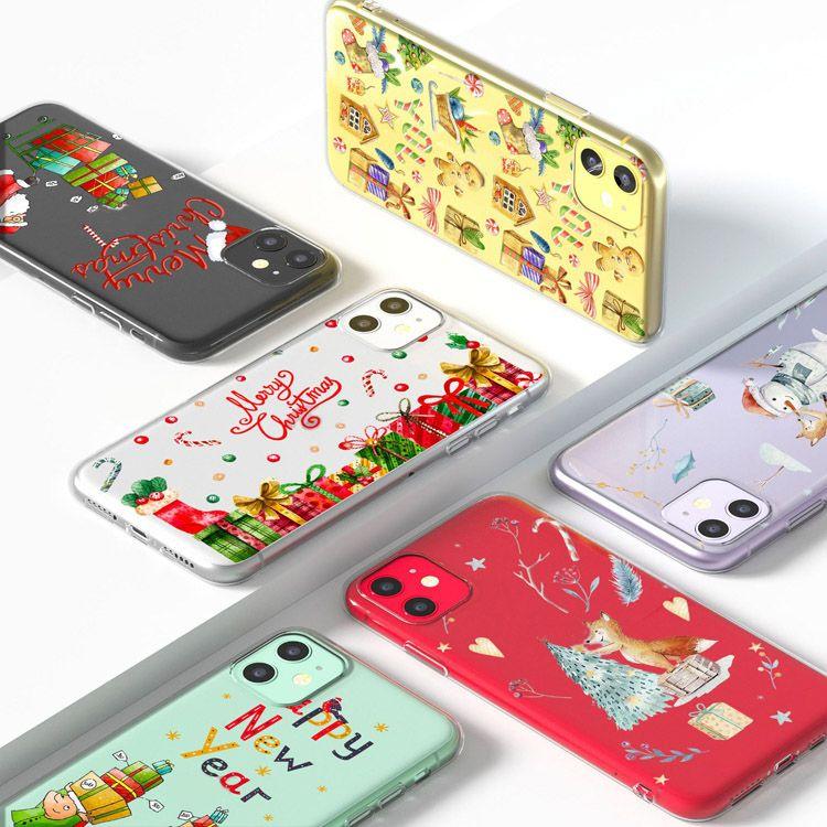 Casos de telefone celular de natal transparente TPU macio caso protetor dos desenhos animados santa claus capa para iphone 7 x / xs xr max 11 12