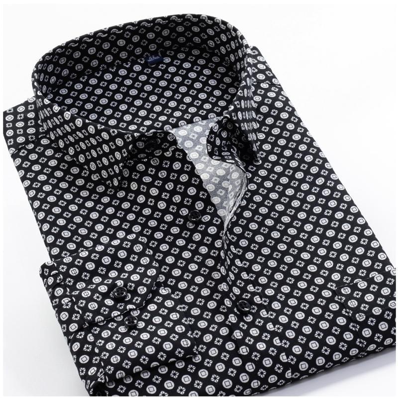 Grande tamanho 8xl 9xl 10xl vrokino marca 2021 vintage impressão floral mangas compridas homens vestido casual moda camisa clássica 210305