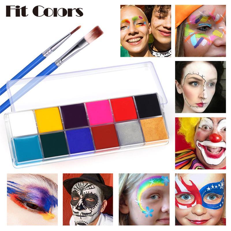Fit Colors 12Colors Safe Kids Face Paint Set Waterproof Body Art Oil Painting Makeup Tattoo Halloween Party Fancy Beauty