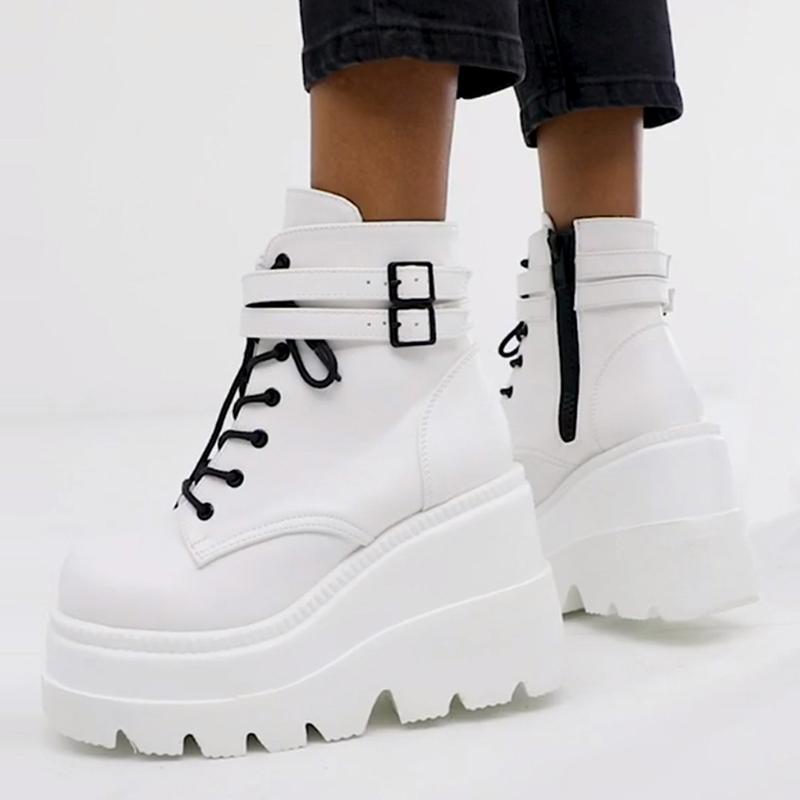 الأحذية ins السيدات منصة عالية كعوب الأزياء الكاحل النساء 2021 حزب أسافين الأحذية امرأة