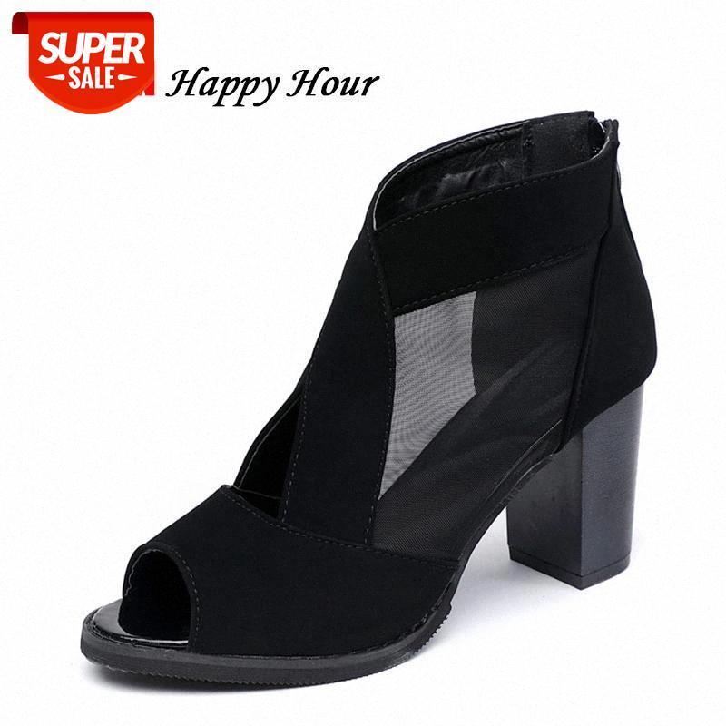 NUEVO 2019 Sandalias de Peep Toe para mujeres Tacones altos Marca de moda Sandalias de mujer sexy Negro rojo ZH2844 # QV3P