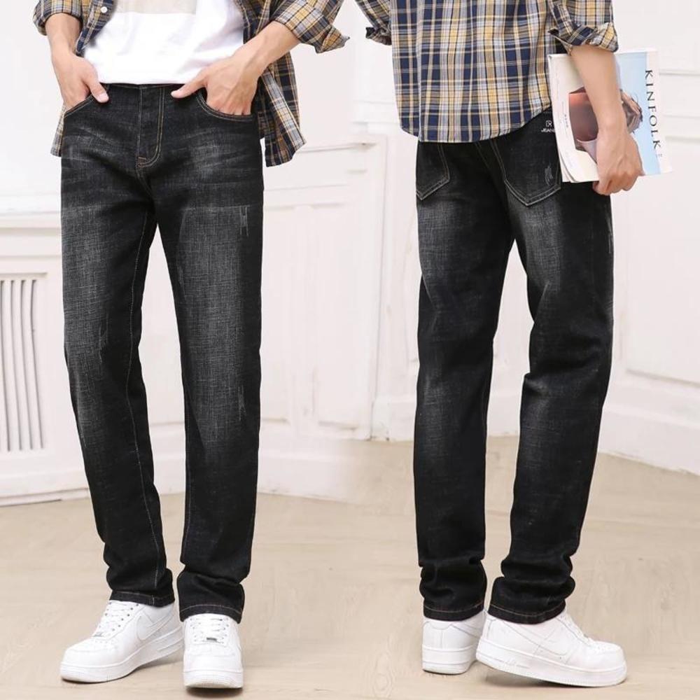 2021 Bahar Yeni erkek Klasik Mavi Siyah Slim-Fit Kot İş Pamuk Elastik Normal Fit Denim Pantolon Marka Erkek Pantolon1