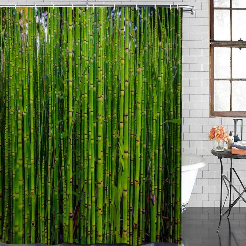 Duschvorhänge Bambus Wald Grün Pflanze Vorhang Polyestergewebe Badezimmer Wohnkultur Wasserdicht mit Haken