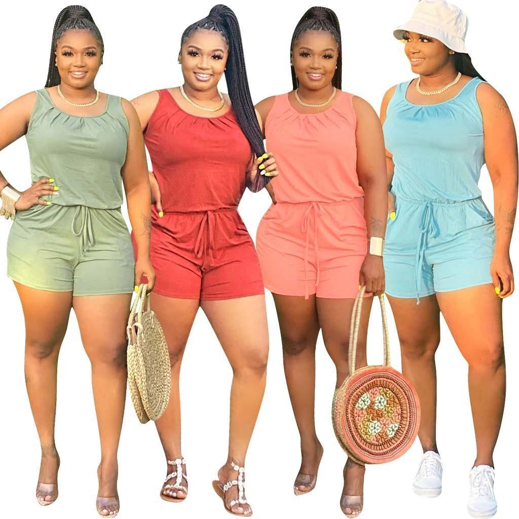 Kadın Tulumlar Tulum Yaz Katı Renk Kadın Rahat Tulum Moda Seksi Tulum Bodysuit Artı Boyutu Kadın Giyim S-5XL 842