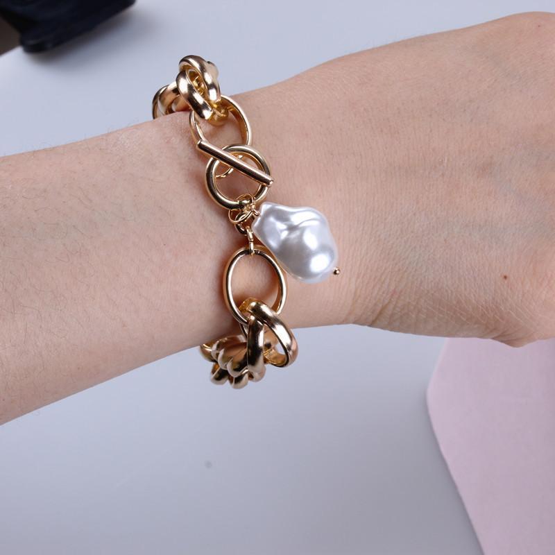 Link, Kette KMVexo Gold Farbe Barock Unregelmäßige Perlenarmbänder Bangle Femme Mädchen Toggle Verschluss Dicke Schloss Ketten Armband Für Frauen Schmuck