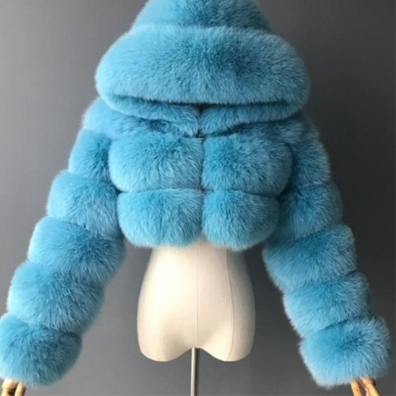 Lucyever Mode Capuche Mode Faux Fourrure manteau Femmes Hiver Chaud Plus Taille 8XL Bleu Cuillère Veste de culture élégante Femme 210222