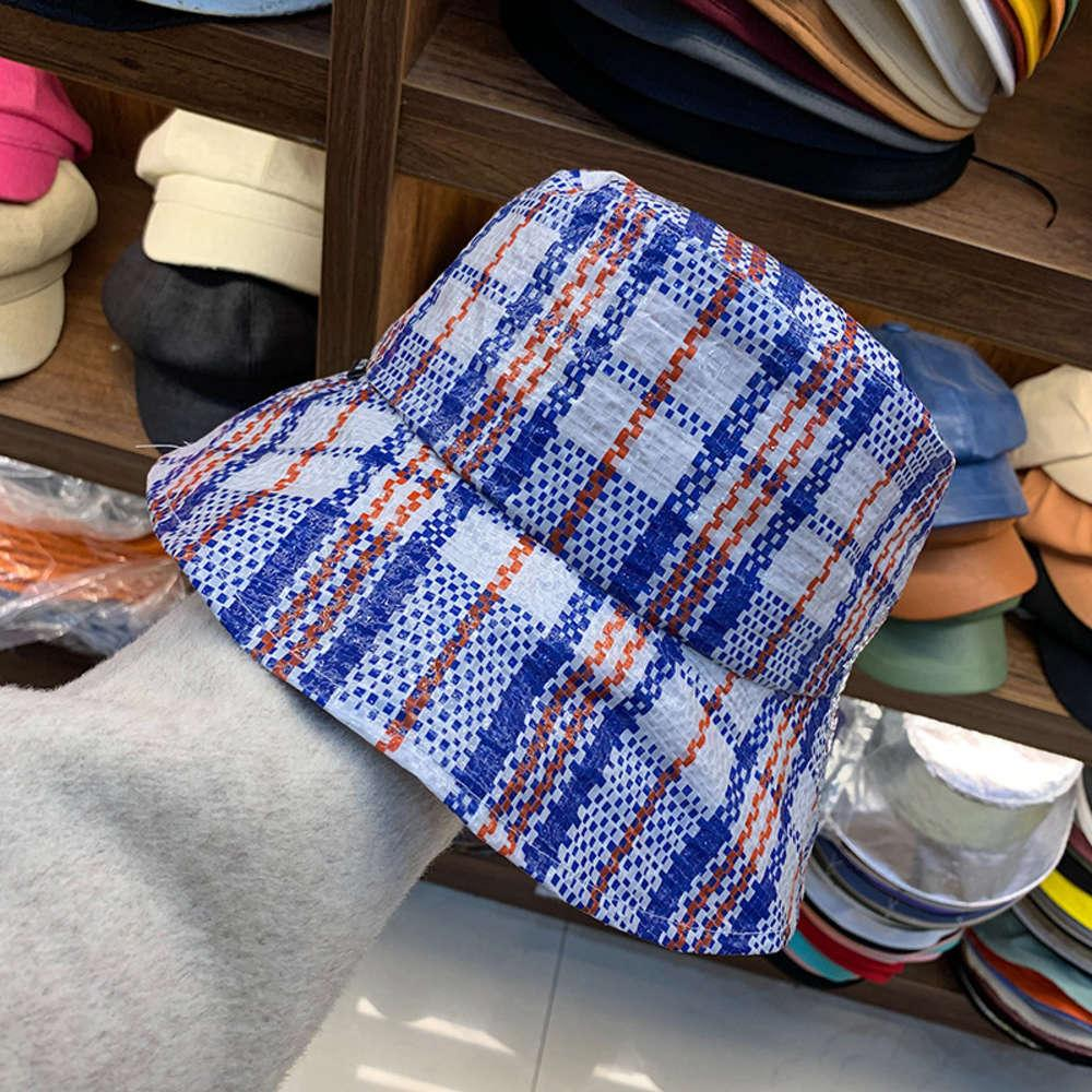 С новой сплетенной большой сумкой Breim, корейский плед рыбацкой женской солнцезащитной шляпы, складная шляпа от солнца
