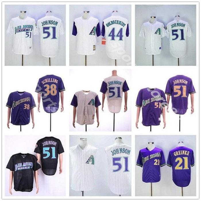 Benutzerdefinierte Diamondbacks Männer Frauen Jugend Arizona Jersey 51 Randy Johnson 38 Curt Schilling 21 Greinke 44 Paul Goldschmidt Baseball Jersey 05