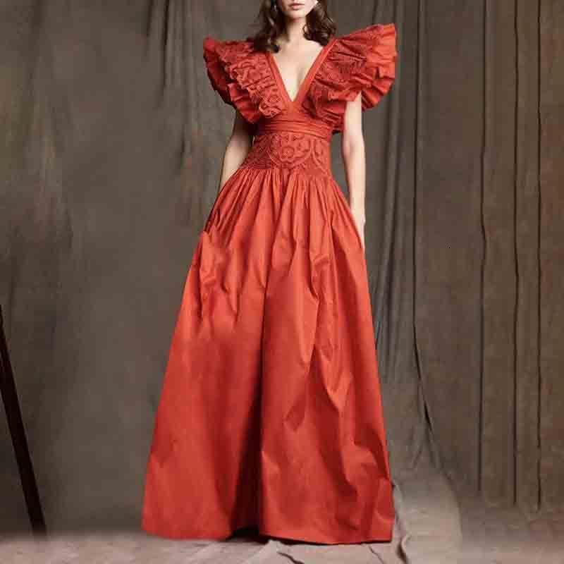 2021 Yaz Yeni Moda Seksi V Yaka Fırfır Sıçrama Sleeve Bel İnce Salıncak Uzun Elbise AC