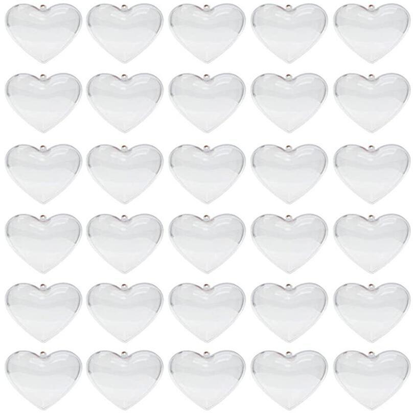 Effacer les ornements en plastique Boules en forme de cœur Boule d'arbre de Noël Boules remplissables Boule transparente ouverte pour décorations de mariage de Noël