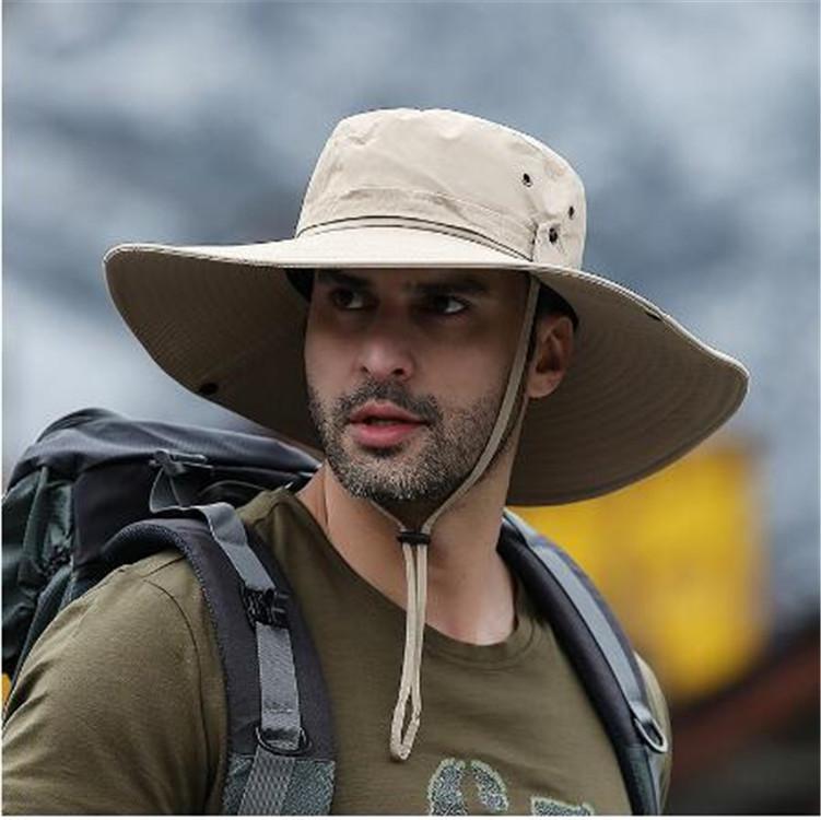 Летние путешественники на открытом воздухе на ноге Рыбак для человека Широкая шляпа широкого края водонепроницаемая шляпа для кемпинга мужчина плюс размер ведра