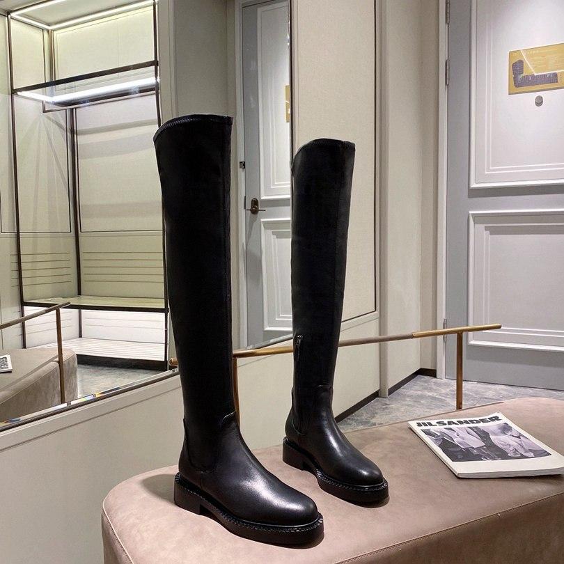 2021 Yeni Seksi Kadınlar Kış Diz Çizmeler Streç Düz Topuk Ayakkabı Üzerinde Kayma Yuvarlak Ayak Kadın Mizaç Uzun Çizmeler En Kaliteli Boyutu 35-41