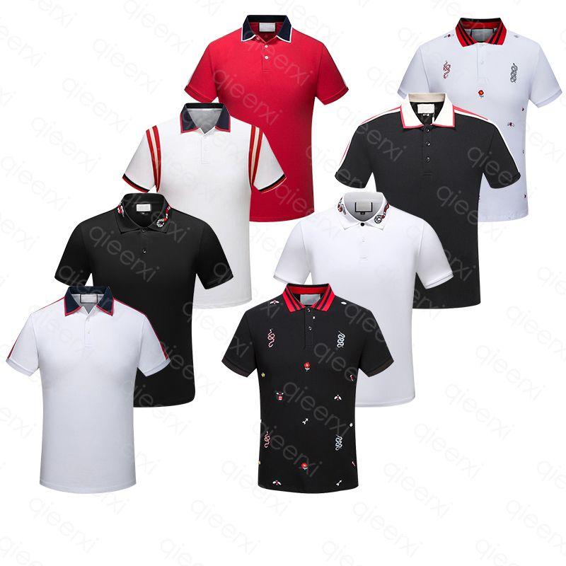 Erkek Polos Gömlek Yaz Şerit T Shirt Yılan Arı Çiçek Nakış Kısa Kollu Elastik ve Nefes T-shirt Yüksek Sokak At Asya Boyutu M-3XL Çoklu Seçenekler