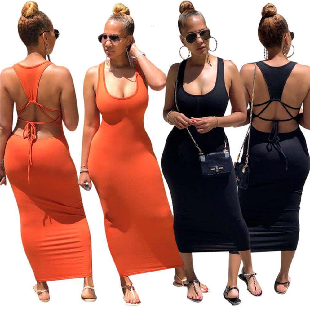 Women Sexy Solid Long Dresses Backless Scoop Neck T-shirt Maxi Dresses Sleevless Tank Dresses Stretch S-XL Summer Nighclub Clothing 3044