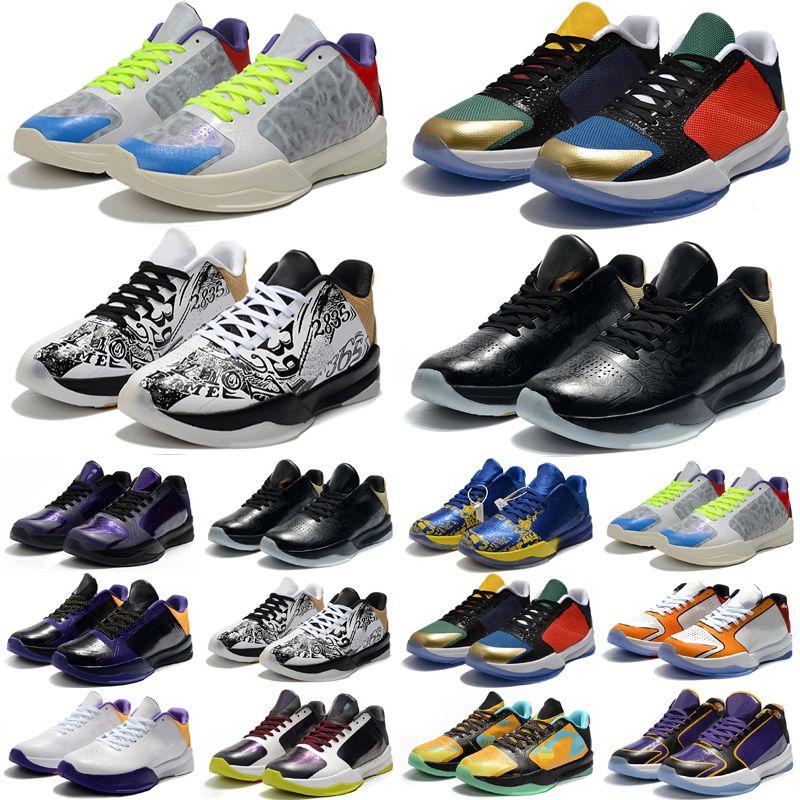 جودة عالية أطفال المرأة رجالي أحذية كرة السلة مامبا الخامس معدني الذهب متعدد الألوان حذاء 5 5 ثانية بروترو الأسود خمسة أحذية رياضية الحجم 36-46