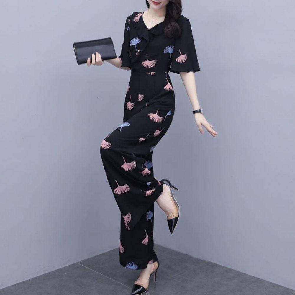 Шифон талии закрытие костюма женщины 2021 новое лето черный с коротким рукавом темперамент королевская сестра цельная широкая нога комбинезон