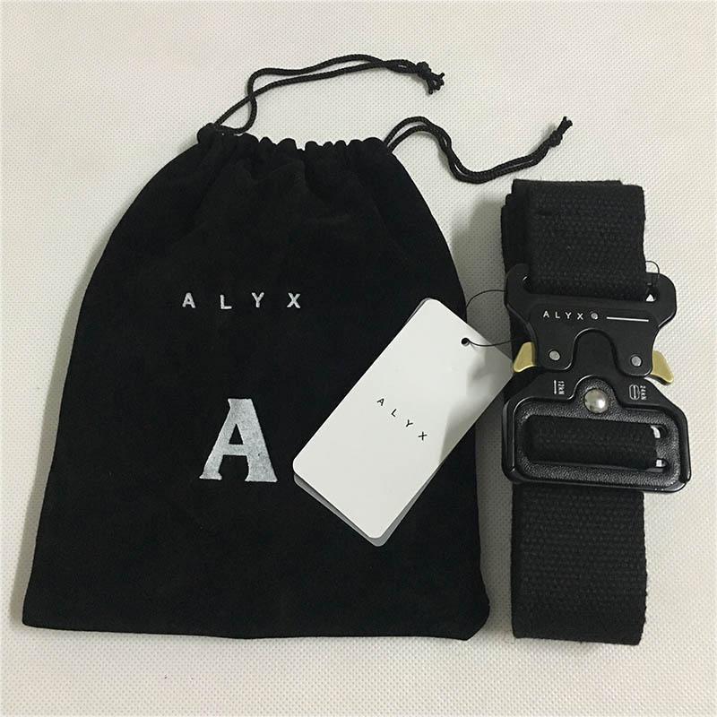Alyx ceinture 128cm de la ceinture de sécurité de la mode Hommes Femmes Rollercoaster Black Metal Bouton Toile Alyx