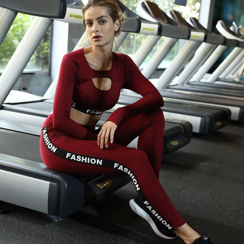 Mulheres sem costura mangas cheias camisa calça dois peça exercício fitness wear conjuntos de cintura alta ginávia ginávia conjuntos de yoga