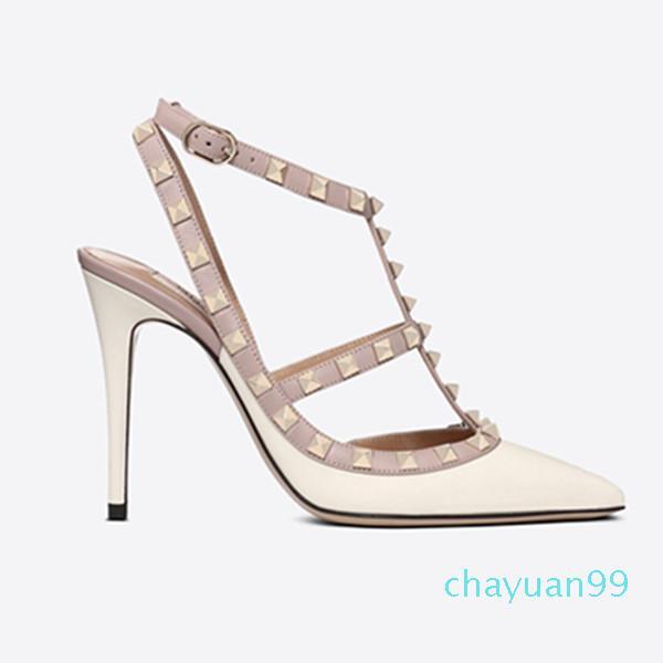 Designer punta a punta 2 cinturino con borchie tacchi alti rivetti in pelle opaco sandali donna con borchie con tacco elevato con tacco alto 2021