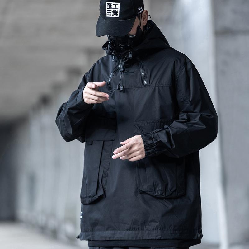 Männer Jacken Techwear Streetwear Black Hooding Windjacke Mantel Männer
